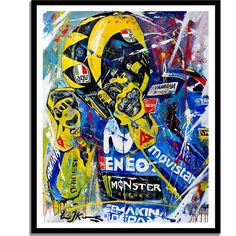 Valentino Rossi art painting by MotoGP artist Eric Jan Kremer - Offroad und Motocross, sportbikes und mehr Valentino Rossi Logo, Motogp Valentino Rossi, Abstract Oil, Abstract Canvas, Canvas Wall Art, Wall Art Prints, Poster Prints, Wall Posters, Ducati