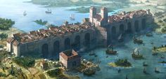 Bridge City: formed of outcasts that can't enter either border. The major trade is in forged papers to try to get out. Fantasy City, Fantasy Castle, Fantasy Map, Fantasy Places, High Fantasy, Medieval Fantasy, Sci Fi Fantasy, Fantasy World, Fantasy Art Landscapes