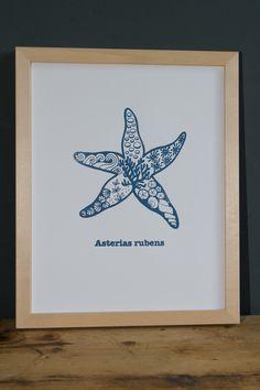 """""""Asterias rubens"""" ist ein von Hand gefertigter Siebdruck nach eigenem Motiv auf fein strukturiertem Aquarellpapier. www. blaurotgrau.blogspot.de"""