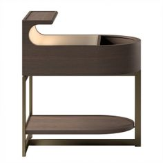 Sucupira or natural oak, leather top, recessed half-rounded rotating drawer, hidden LED illumination under top shelf, metal base frame.  Dimensions [W x D x H] in mm: 425 x 560 x 640