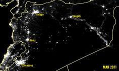 Satellite images showing lights in Syria 2011-2015