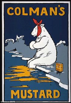 Colman's Mustard Polar Bear UK / / Advertising Posters / Original vintage advertising poster for Colman's Mustard featuring… / MAD on Co Vintage Food Posters, Vintage Advertising Posters, Vintage Advertisements, Food Advertising, 1950s Posters, Poster Retro, Retro Ads, Pub Vintage, Vintage Labels