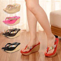 5c286267b1d Buy Summer Bohemia Straw Braid Women s Cane Sandals Flip Flops Beach  Slippers Shoes Wedges High Heel Open Toe Platform Shoes at Wish - Shopping  Made Fun