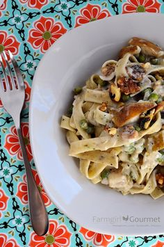 Herbed Pasta with Pears & Blue Cheese - if you can't eat mold for health reasons, I found crumbled goat cheese was a good substitute for the blue cheese or gorgonzola I have found in other recipes
