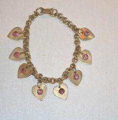 "Modern Vintage Brass Heart with Pink Rhinestone Charm Bracelet 7"" D98"