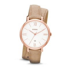 Fossil Jacqueline Three-Hand Date Leather Watch - Bone