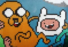 Jake and Finn Adventure time pixel art hama bead piece for by kendaljames