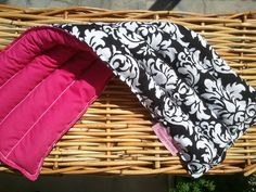 """Microwave Heat and Cold Pad 7""""x20"""" - Black and White Damask with Hot Pink. $21.00, via Etsy."""