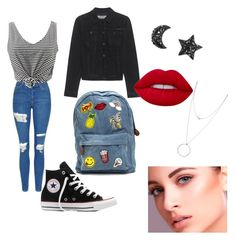 """""""out"""" by biankaradacovska ❤ liked on Polyvore featuring Topshop, WithChic, Converse, Calvin Klein Jeans, Lime Crime and Botkier"""