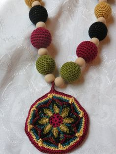 Mandala Medallion in Bold Colors with Crocheted Beads by Otishere