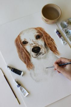 Pet portrait painting, or watercolour painting of a dog by artist Kirsten Jenna H. Custom watercolour portrait painting commissioned of a dog. Watercolor Portrait Painting, Dog Portraits, Mixed Media Art, Pets, Artist, Instagram, Artists, Mixed Media, Animals And Pets