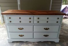 Pine dresser redo in light gray milk paint.,tung oil finish on the top