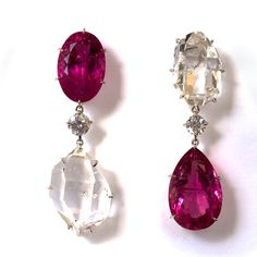 Maja Du Brul AVIATOR III tourmaline earrings Tourmaline pink table cut oval and pear (43.18 carats) natural herkimer diamond and diamond brilliantcut (.74 cts) clip earrings set in 18k white gold