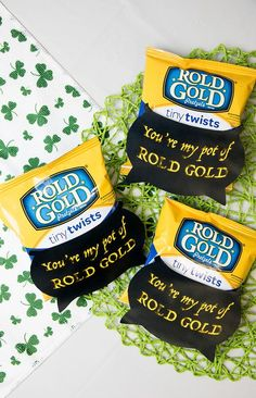 """You're my pot of Rold Gold"" Saint Patrick's Day printable. Get creative with these unique Saint Patrick's Day printable messages for the snack lover in your life."