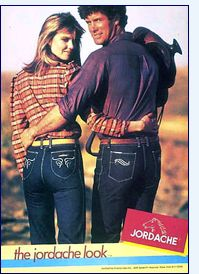 Jordache jeans.. A must have in the 80s.. funny they sell at Walmart now!!