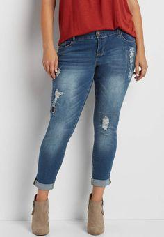 DenimFlex™ plus size skinny boyfriend jeans with plaid lined destruction   maurices