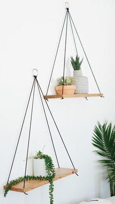 Hanging Shelves / Set of 2 Large Shelves / Floating Shelves / Etsy Minimalistdecor Large Shelves, Wooden Shelves, Cool Shelves, Cute Dorm Rooms, Cool Rooms, Diy Hanging Shelves, Floating Shelves, Suspended Shelves, Hanging Baskets