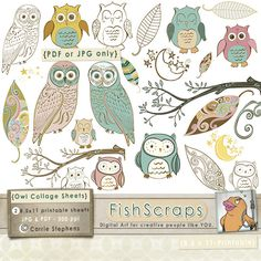 Owl Printable Collage Sheet - Pastel - Baby Shower Graphics by Carrie Stephens, via Flickr
