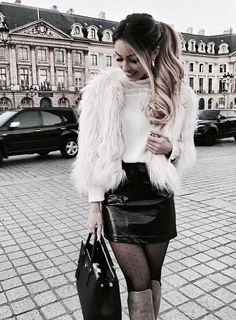 Find images and videos about girl, fashion and style on We Heart It - the app to get lost in what you love. Casual Winter Outfits, Winter Fashion Outfits, Stylish Outfits, Fall Outfits, Autumn Fashion, Cute Outfits, Sexy Rock, Fur Coat Outfit, Queen Outfit