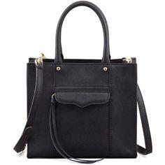 Rebecca Minkoff MAB Saffiano Mini Tote Bag ($205) ❤ liked on Polyvore featuring bags, handbags, tote bags, black, saffiano leather handbag, tassel purse, mini purse, rebecca minkoff tote and black handbags