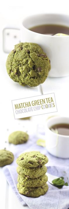 Matcha Green Tea Chocolate Chip Cookies -Add a healthy boost.- Matcha Green Tea Chocolate Chip Cookies -Add a healthy boost to your cookies with Matcha powder. This recipe from The Healthy Maven will give you extra energy! Green Tea Dessert, Matcha Dessert, Baking Recipes, Cookie Recipes, Dessert Recipes, Green Tea Recipes, Sweet Recipes, Chocolate Chip Cookies, Chocolate Chips