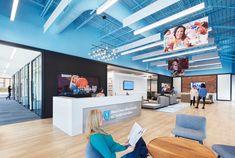 Blue Cross Blue Shield 📷: Mark Herboth Photography, LLC Design: IA Architects   #officedesign #interiordesign #luxuryvinylplank #lvt #flooring #woodlookdesign Luxury Vinyl Flooring, Luxury Vinyl Tile, Luxury Vinyl Plank, Blue Shield, Blue Cross, Vinyl Tiles, Architects, Interior Design, Photography