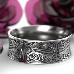 Engraved Norse Wedding Ring With Dramatic Design in Sterling Silver, Made in Your Size How To Choose A Wedding Ring For A Man Celtic Rings, Celtic Wedding Rings, Wedding Bands, Wedding Venues, Engraved Jewelry, Engraved Rings, Silver Jewelry, Fine Jewelry, Silver Rings
