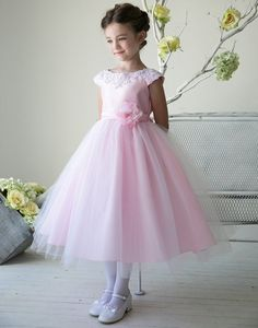Pink Satin Embroidered Lace Waistline Tulle Flower Girl Dress (Sizes In Girls Special Occasion Dresses, Wedding Dresses For Girls, Girls Dresses, Wedding Girl, Tulle Wedding, Gown Wedding, Mermaid Wedding, Flower Girl Dresses Boho, Tulle Flower Girl