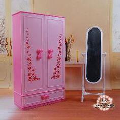 [ 53% OFF ] Dream Dollhouse Mini Furniture Pink Chest Closet Wardrobe + Mirror Set For Barbie Kurhn Doll 1/6 Diy Toy Girls Gift Wholesale
