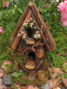 ♧ Charming Fairy Cottages ♧ garden faerie gnome & elf houses & miniature furniture - Fairy Cottage Woodland Cabin