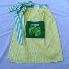 Green & Yellow Apron / Pickles Mason jar on pocket by TurtleFishCreations on Etsy