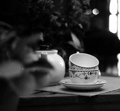 tea black and white photo