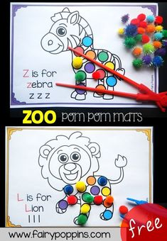 These free zoo themed pom pom mats help kids to develop their fine motor skills. They also help kids learn about letter sounds and colors. Zoo Activities Preschool, Zoo Animal Activities, Zoo Animal Crafts, Color Activities, Preschool Activities, Cutting Activities For Kids, Letter S Activities, Preschool Jungle, Jungle Crafts