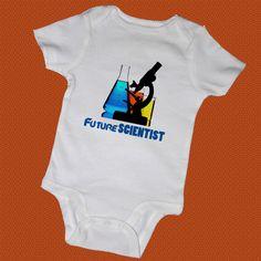 FUTURE SCIENTIST Baby Bodysuits, Tees, Boy, Girl, Baby Shower, Science, Genius, Microscope, Funny, Infant, Newborn, Preemie, Twins,. $14.00, via Etsy.