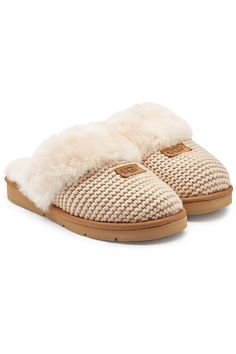 18472d640c0b Love this by UGG Cozy Knit Cable Slippers With Sheepskin in Beige -  109  Sheepskin Slippers