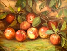 Red Apples on Branches Original Oil Painting Still Life Wall Art Home Decor