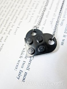 SALE Black Lego Heart Necklace Pendant Custom Made for Valentine Valentine's Day Gift Geekery Retro Geek Nerd Fun. I Love Heart, Key To My Heart, Geek Gear, Everything Is Awesome, Geek Out, Heart Pendant Necklace, Gifts For Boys, Legos, Cool Gifts