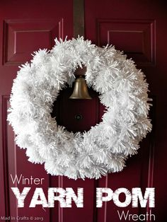 Winter Pom Wreath - Mad in Crafts ...With other potential colors.  Good for killing a a yarn stash.