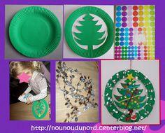 *2013* Voici la jolie couronne sapin que Soline a réalisé avec une assiette en carton peinte en vert, et desgommettes.   Peindre une assiette en carton dessinez un sapin à l'interieur et le découper ...