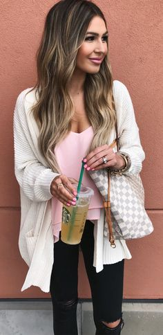 #spring #outfits White Cardigan & Pink Top & Black Ripped Skinny Jeans & Checked Tote Bag