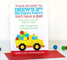 Dump Truck with Balls Birthday Invitations - Personalized - Truck Balls Birthday Party Ball Birthday Parties, Birthday Ideas, Birthday Stuff, Polka Dot Birthday, Baby First Birthday, Happy Birthday, Dump Truck, Birthday Invitations, Party Planning