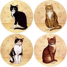 CoasterStone Absorbent Coasters, Country Kittens, Set of 4 Decoupage Printables, Art Carte, Bottle Cap Crafts, Bottle Cap Images, Cat Cards, Cat Pattern, Vintage Labels, Cat Drawing, Pet Shop