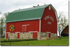 The Rose Hill barn, built in 1918, Racine County, Wisconsin, as seen from Hwy 20 just west of I-94.