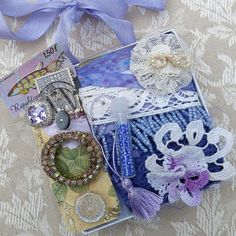 Purple Embellishment Inspiration Kit, Box 48...vintage, contemp adornments...Gift Kit...collage, crazy quilting, mixed media supplies