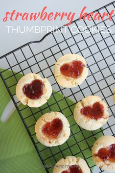 These strawberry heart thumbprint cookies are by far the most requested cookies by my kids.  There is just something about them that they just can't get enough of.  It probably has something to do with the sticky, sweet jam in the middle of each cookie.