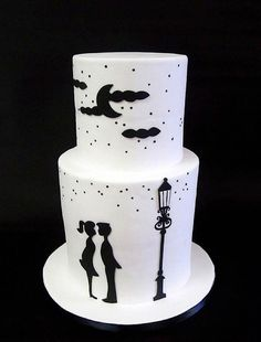 Adorable silhouetted scene.  By Berliosca Cake Boutique. Via Cake Wrecks Sunday Sweets