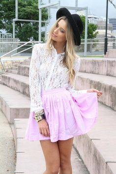 SABO pleated skirt in lilac