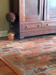old brick flooring similar to the one on the screened-in porch...(Old South Carolina Antique Brick Floor Tile)
