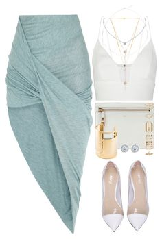 A fashion look from August 2015 featuring white silk top, helmut lang skirt and transparent high heel shoes. Browse and shop related looks. Cute Fashion, Look Fashion, Fashion Outfits, Womens Fashion, Korean Fashion, Fashion Tips, Cute Casual Outfits, Stylish Outfits, Mode Kimono