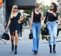Pin for Later: Kendall and Gigi Hang Out So Much, They're Starting to Dress Alike The Girls Were Joined By Their Friend Hailey Baldwin, Who Wore a Black Dress